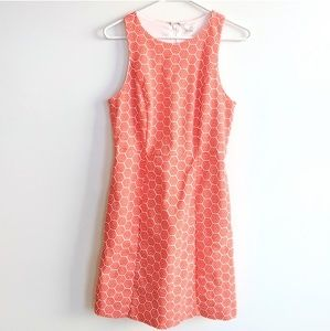 GAP orange and white geometric sleeveless dress 4
